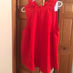 Jcrew crepe 365 red ruffle top large NWT